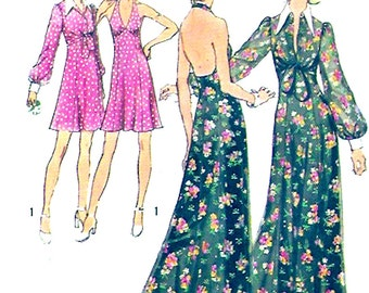70s Halter dress halter evening dress grad dress vintage sewing pattern Simplicity 5561 Bust 36