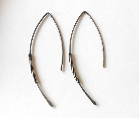 Minimal Oxidized Sterling Silver Earrings, Long Antiqued Silver Earrings, Modern Rustic Wire Jewelry