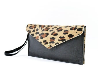 Emmy - Oversized Leather Clutch Bag Purse In Leopard Print Hair On Hide Handmade. SS16