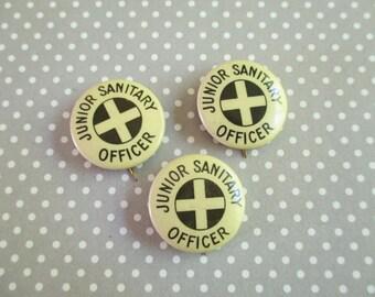 Three Vintage Celluloid Pin Backs - Junior Sanitary Officer - Bastian Bros
