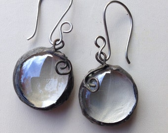 Modern Stained Glass Ice Droplets Earrings