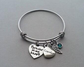 Forever In My Heart Bracelet, Grandpa Memorial Bracelet, Grandfather Memorial Bracelet, Loss Of Grandpa, Remembrance Charm, Stainless Steel