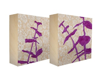 Set of 2 art blocks - Limited edition botanical prints on birch panel, plant silhouettes - Free Shipping - Ready to hang - Sprouts Magenta