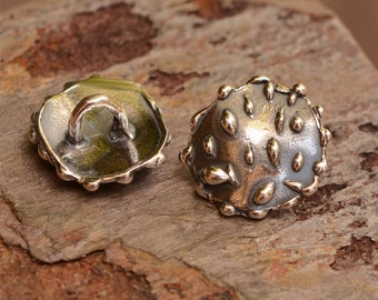 Artisan Dotted Button, Sterling Silver Rustic Buttons, B-472