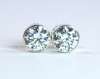 8 mm Cubic Zirconia Sterling Silver Stud Earrings / CZ Silver Studs / April Birthstone Silver Earrings / CZ Sterling Silver Post Earrings