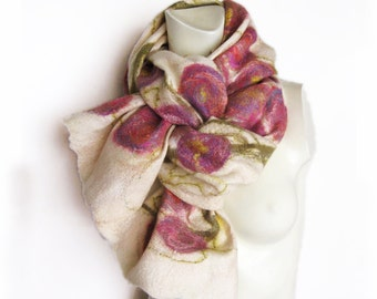 Felted Scarf Wool Silk Off-White Red Purple Green Floral