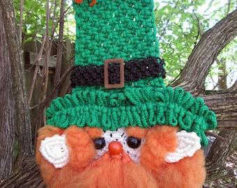 Vintage Macrame Leprechaun Wall Hanging St. Patrick's Day Decoration 70's Retro