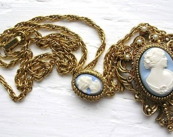 Vintage Gold Tone Simulated Pearl Blue White Resin Cameo Necklace Ornate Fancy Cameo Jewelry Victorian Style Woman
