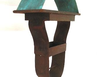 Sculptural Steel & Copper Bird Feeder No. 337 - Freestanding unique modern birdfeeder