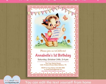 Kitty cat invitation / INSTANT DOWNLOAD cat birthday party /cute kitten party #P-2B-invite / kitty cat editable text you can edit from home