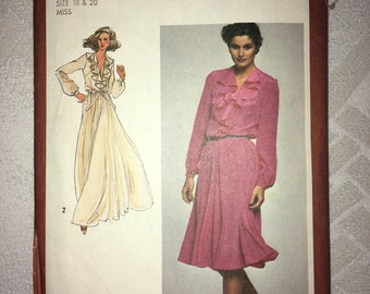 Uncut Vintage Simplicity Pattern No. 9655. Size 18 & 20. Bust 40 inches and 42 inches. Misses' dress pattern in two lengths - Circa 1980