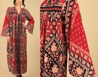 ViNtAgE Indian Cotton Dress // Bohemian 60s 70's India Angel Wing Caftan Maxi Dress Hippie Boho s / m / l