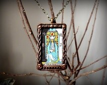 The High Priestess Tarot Necklace Metaphysical Jewelry Tarot Card Talisman Spiritual New Age Gift Fortune Teller Pendant Rider Waite Deck