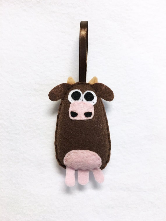 Cow Ornament, Christmas Ornament, Felt Ornament, Ellie the Cow - Made to Order, Felt Animals, Stocking Stuffer, Farm Animal Ornament