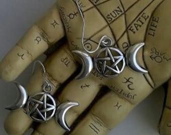 Triple Moon Pentacle Earrings