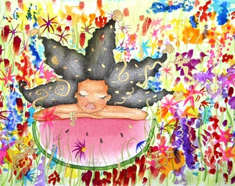 Print:11x14 16x20 20x30.ABUNDANCE IS YOURS Affirmation Natural Hair by karin turner KarinsArt watermelon flowers african american fairy
