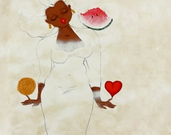 Print:11X14 16x20 20x30 Wht Series Prayer For A Life FilledWithLoveAndAppreciation! Affirmation Natural Hair karin turner  african american
