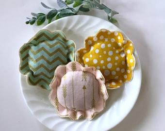 lavender sachet trio set, polka dot sachet set, flower shape sachets, chevron arrow  lavender sachets, 3 fabric scrap flower sachets- Set D