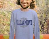 vintage 80s t-shirt VILLANOVA university wildcats basketball champion long sleeve tee Large gray