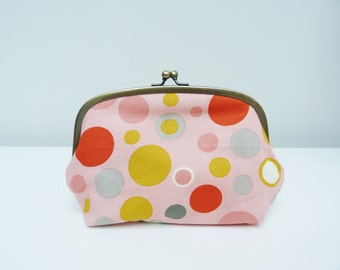 Cosmetic bag, multi colour spotty fabric, cotton pouch