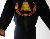 Desperately Seeking Susan style Madonna costume jacket Gold Pyramid embroidered on black bolero SALE