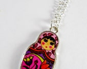Doll Necklace, Russian Nesting Doll, Russian Babushka Doll Necklace - Pink