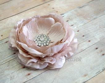 Beige  Flower Hair Clip Tan Flower Hair Clip Ranunculus Hair Clip Rhinestone Flower Hair Clip Ruffled Flower Hair Clip Headband