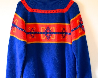 Vintage 70s 80s Primary Colors Knit Ski Sweater (size medium, large)