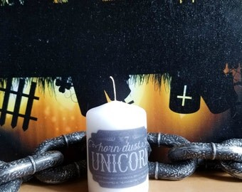 Unicorn Horn Dust Apothecary Bottle Label 2x3 Pillar Candle