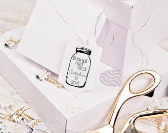 Mason Jar rubber stamp for DIY personalized wedding favors  and tags 3 x 4