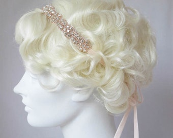 Rhinestone Headband Rose Gold And Crystal Flapper Headband, Bridal Wedding, Great Gatsby Style