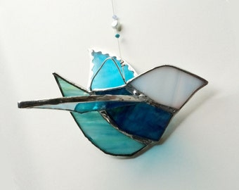 Lacy Bluebird - Lovely 3D Suncatcher - Stained Glass with Crystals and Pearl