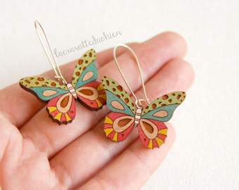 Wooden butterfly dangle earrings, wood butterfly jewelry, colorful butterflies
