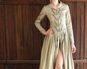 World's End Trench Coat in Olive Silk with Antique Brass Hardware