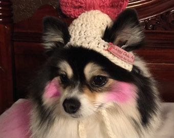 Dog hat with bow on top, Xsmall, small, medium, pick your colors