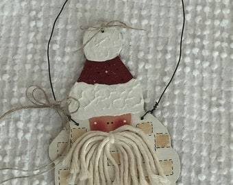 Vintage Hand Painted Wooden Santa Hanging Decor or Ornament - unique