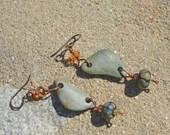 Skipping Stone, Crystal and Raku Lampwork earrings - By the Brook Boho earrings