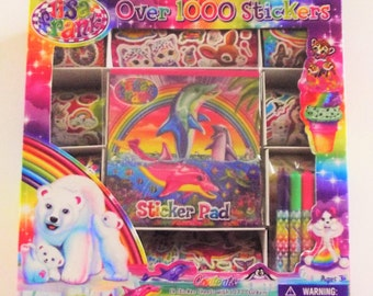 Lisa Frank Over 1000 Sticker box set HTF dolphins kittens unicorns horses leopards puppies
