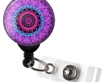 Purple Mandala Glass Dome Retractable ID Badge Reel, Name Badge Holder 279