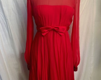 Vintage 1960s  Fab Red Chiffon Cocktail Dress with beadwork by Malcolm Starr