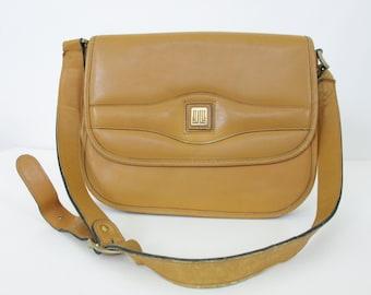 CLEARANCE SALE - Lanvin Paris 1970's Vintage Authentic Designer Tan Leather Logo Shoulder Bag
