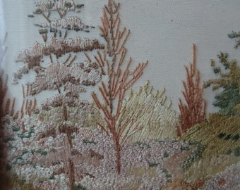 Vintage Forest Landscape Miniature Silk Embroidery in Original Frame 1940's - 1950's