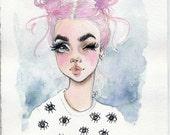 Chibi moon love - original watercolor illustration