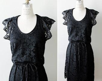 Boho Black Lace Bridesmaid Cocktail Dress with flutter sleeves