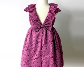 Plum Rose Petal Lace Dress, Flower Girl, Toddler, Birthday or Holiday Dress