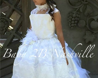 Vintage Dress White Lace Dress Flower Girl Dress Ivory Dress White Dress Tulle Dress Party Dress Birthday Dress Toddler Tutu Dress Girls