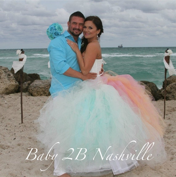 Beach Wedding Tulle Skirt Aqua Tulle Skirt Wedding Skirt Wedding Tutu Skirt Ombre Tulle Skirt Bridal Skirt Tea Length w Train Bridal Skirt
