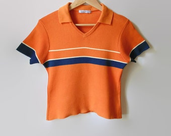 Orange Tee Shirt, 90s T Shirt, Navy Blue Stripe, Cropped T Shirt, 90s Clothing, Size 6, Knitted Top Vintage Tee, Summer Shirt, V Neck Jersey