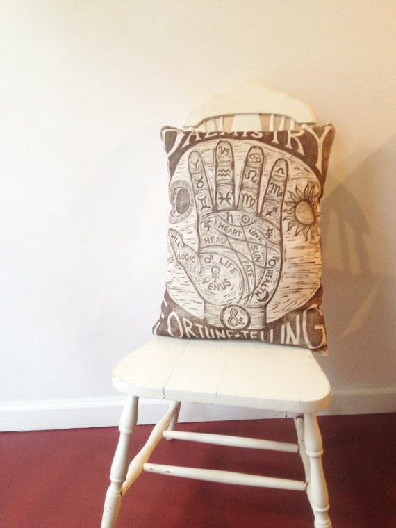 Decorative Reading Pillow : Palm Reading Novelty Pillow Occult Art Pillow Decorative