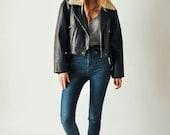 Vintage Leather Moto Jacket with Fur Collar
